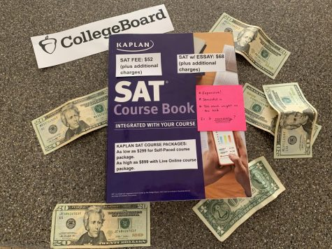 Kaplan SAT book representing the high costs that come with taking and preparing for the SAT.
