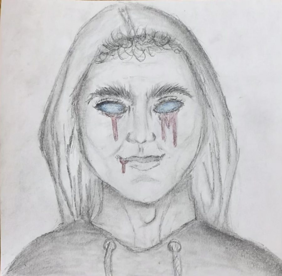 Man under the bed with pale blue eyes, face dripping blood. Drawing by Mikaela Henricksen.