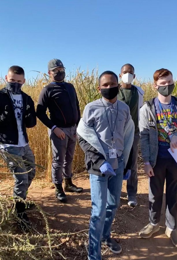 Cameron Jerger, David Doan, Jeremiah Bovell, Ethan Hickman and Matthew Barlow in a corn maze. Special Education students were kicking off the fall season at Vertuccio Farms.