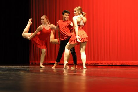 Freshman Isaiah Villegas performs a musical theatre number with Juniors Aubrey Feuerstein and Ella Szymanski.