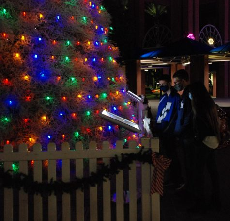 Freshmen Taylor Walker, Daniel Johnson, and Myrna Diaz meet up in downtown Chandler to look at Christmas decorations.