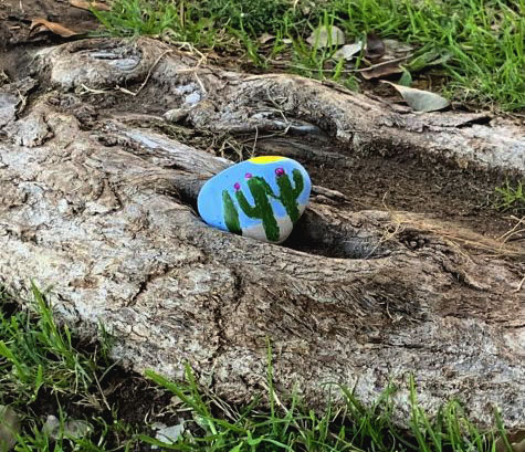 A rock painted with a desert cactus design rests along a tree root unearthed in the ground