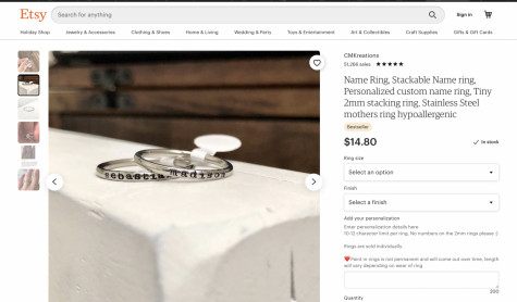 In the Etsy shop CMKreations  you can buy personalized name rings made by Crystalina Hopkins.