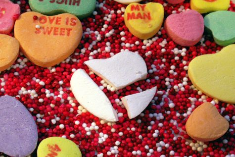 The broken heart candy represents the shattered Valentine