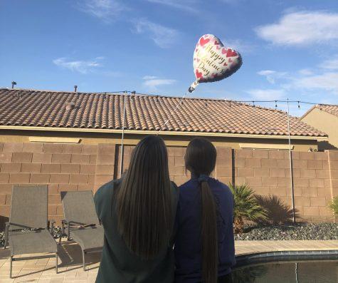 Juniors Leah Davis and Dani Lavender celebrate Valentine