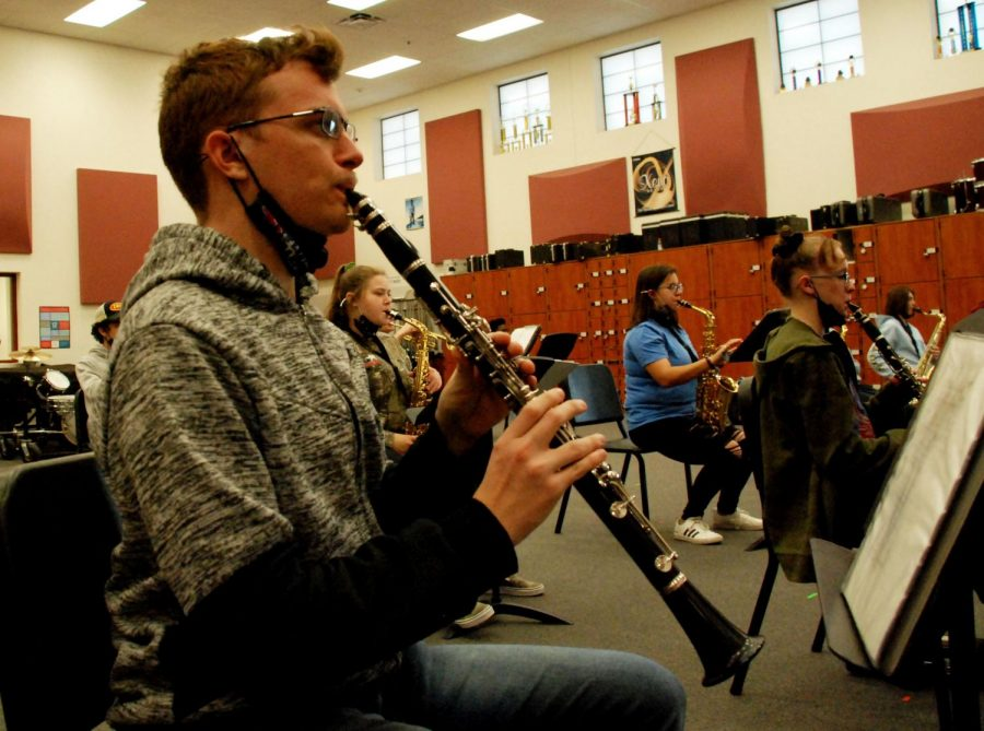 Clarinet player Brandon Moak, junior, practicing for Regional auditions. Auditions are structured virtually this year, due to COVID-19 restrictions.