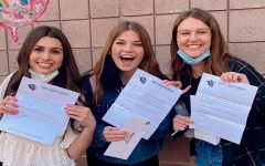 Juniors Abby Carraro, Brooke Lassen, and Elizabeth Perkins receiving their letters on Mar. 14 informing them, they have been voted in to hold a student body office next school year.