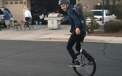 Almost a year ago exactly, Butcher began to teach himself unicycling at home.