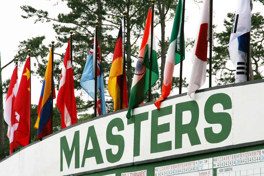 The+leaderboard+at+the+Masters+tournament+presents+many+flags+from+all+across+the+world+to+show+the+diverse+group+playing.+