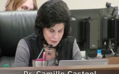 Dr. Camille Casteel reads Superintendent comments at the March 24 board meeting. Casteel announced her retirement in December of last year, after serving the district for over fifty years.