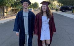 Bryce Harger and Alyssa Premo are demonstrating a good and bad outfit to wear for graduation. The left is what not to wear, and the right is what to wear.