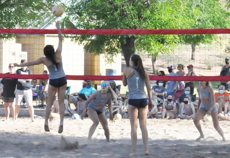 Beach+volleyball+Captain%2C+Jordan+Suan+serves+at+recent+game.+Suan+has+proved+to+be+a+leader+to+the+girls+and+hopes+that+their+continued+success+will+qualify+them+for+a+state+title+next+year.+