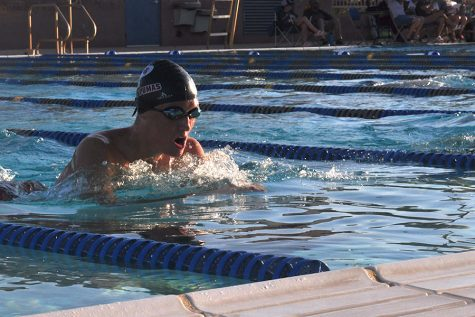 Senior swimmer Gavin Bonilla works on improving his time at practice after school. Both swim and dive practice before and after school as well as during the 6th period locker class.