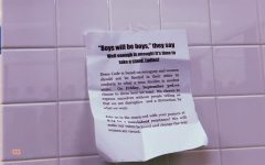 Posters taped to the walls in the girls bathroom on Tuesday morning. Administrators quickly took them down but, that didnt stop them from circulating online.