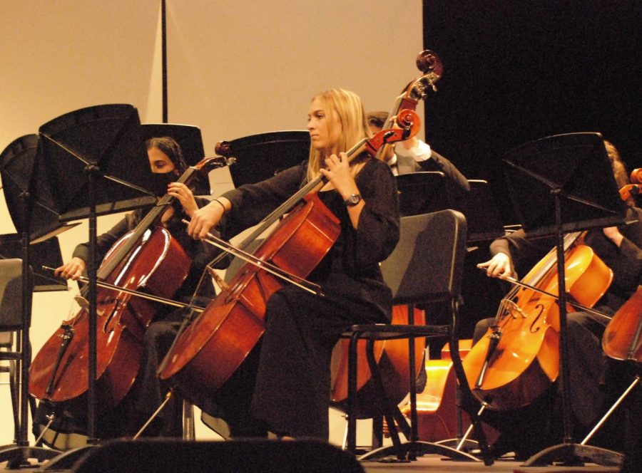 Cello+players+Anvita+Limaye+and+Sienna+Weikel+perform+as+members+of+the+Symphonic+Orchestra.+The+orchestra+performed+a+variety+of+pieces%2C+led+by+their+director+Dr.+Dopp.+